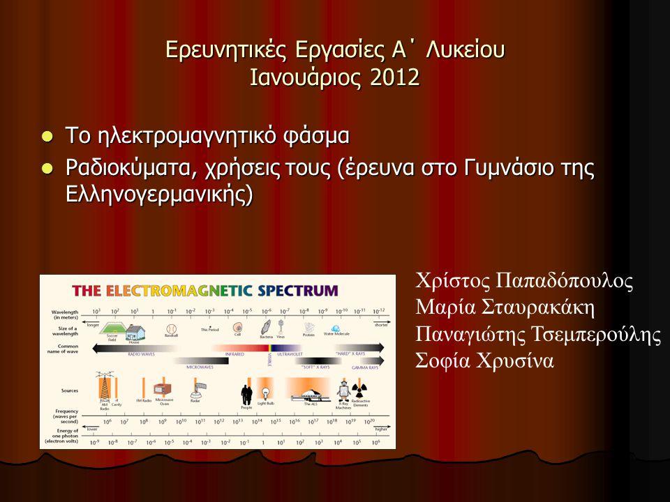 Ερευνητικές Εργασίες Α΄ Λυκείου Ιανουάριος 2012 Το ηλεκτρομαγνητικό φάσμα Το ηλεκτρομαγνητικό φάσμα Ραδιοκύματα, χρήσεις τους (έρευνα στο Γυμνάσιο της
