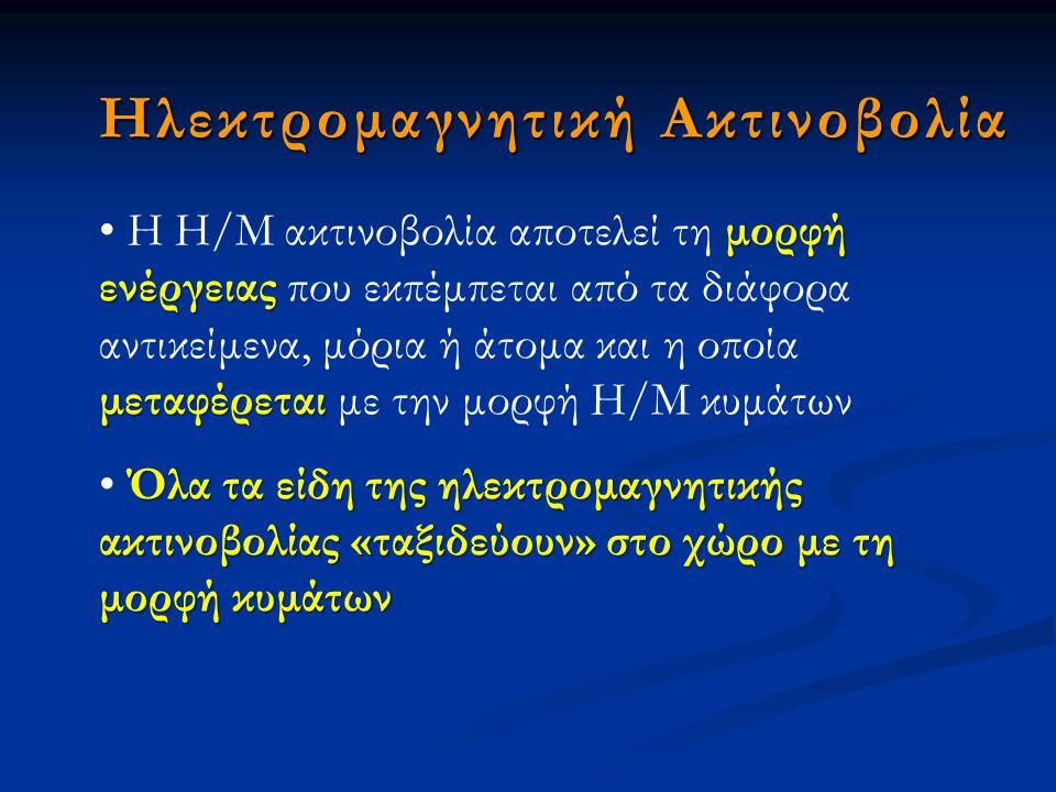 Ηλεκτρομαγνητική Ακτινοβολία μορφή ενέργειας μεταφέρεται Η Η/Μ ακτινοβολία αποτελεί τη μορφή ενέργειας που εκπέμπεται από τα διάφορα αντικείμενα, μόρι