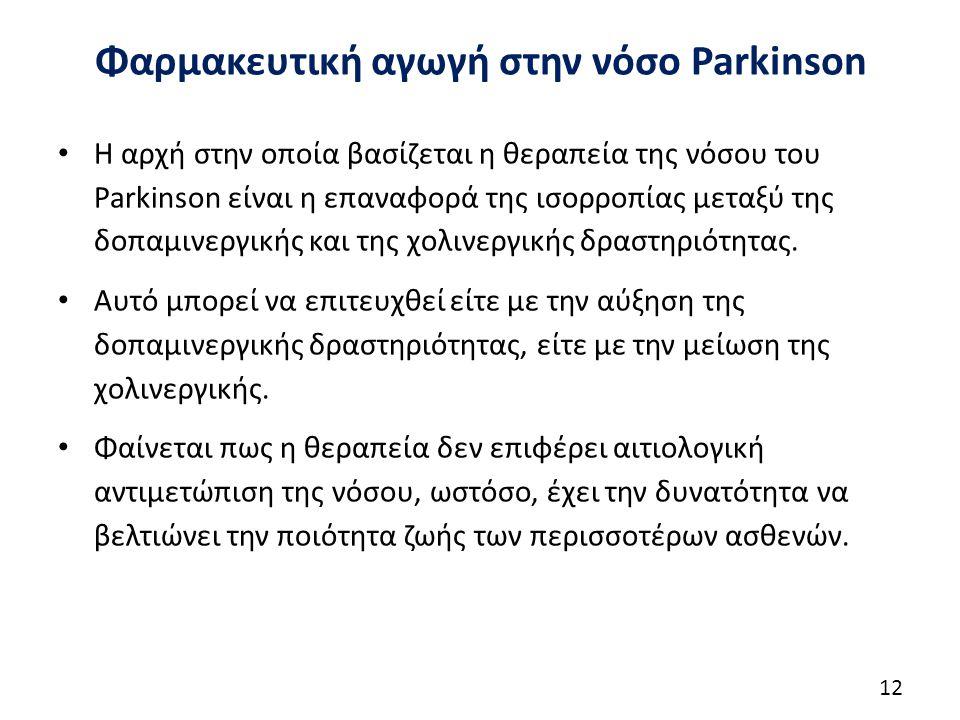 Φαρμακευτική αγωγή στην νόσο Parkinson Η αρχή στην οποία βασίζεται η θεραπεία της νόσου του Parkinson είναι η επαναφορά της ισορροπίας μεταξύ της δοπαμινεργικής και της χολινεργικής δραστηριότητας.