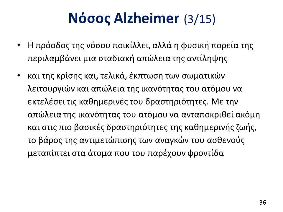 Νόσος Alzheimer (3/15) Η πρόοδος της νόσου ποικίλλει, αλλά η φυσική πορεία της περιλαμβάνει μια σταδιακή απώλεια της αντίληψης και της κρίσης και, τελικά, έκπτωση των σωματικών λειτουργιών και απώλεια της ικανότητας του ατόμου να εκτελέσει τις καθημερινές του δραστηριότητες.