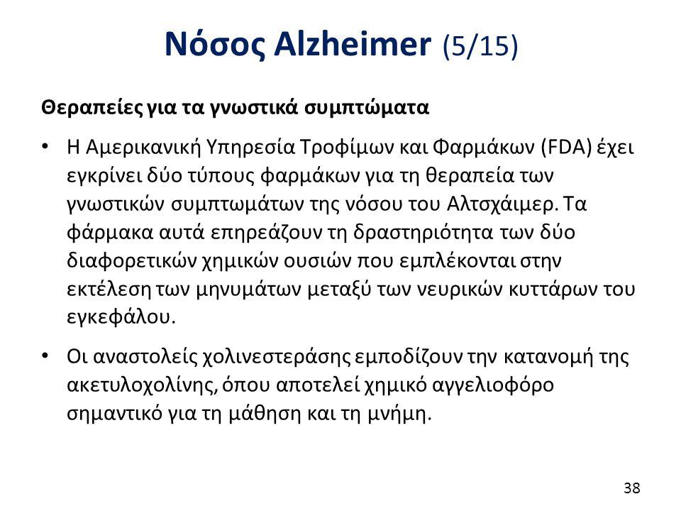 Νόσος Alzheimer (5/15) Θεραπείες για τα γνωστικά συμπτώματα Η Αμερικανική Υπηρεσία Τροφίμων και Φαρμάκων (FDA) έχει εγκρίνει δύο τύπους φαρμάκων για τη θεραπεία των γνωστικών συμπτωμάτων της νόσου του Αλτσχάιμερ.