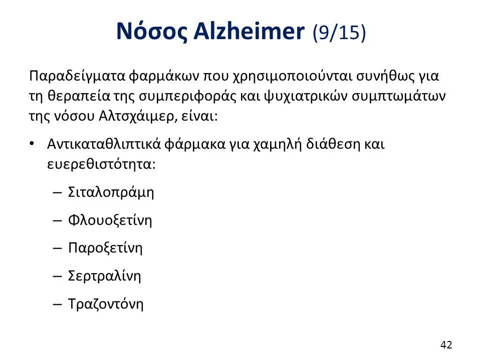 Νόσος Alzheimer (9/15) Παραδείγματα φαρμάκων που χρησιμοποιούνται συνήθως για τη θεραπεία της συμπεριφοράς και ψυχιατρικών συμπτωμάτων της νόσου Αλτσχάιμερ, είναι: Αντικαταθλιπτικά φάρμακα για χαμηλή διάθεση και ευερεθιστότητα: – Σιταλοπράμη – Φλουοξετίνη – Παροξετίνη – Σερτραλίνη – Τραζοντόνη 42