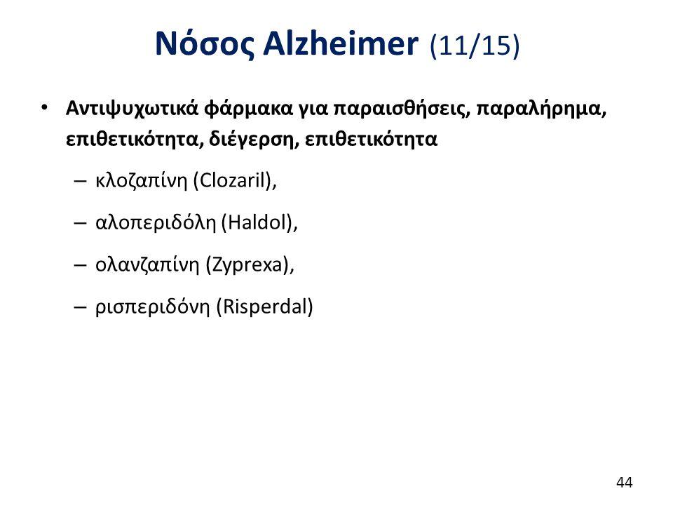 Νόσος Alzheimer (11/15) Αντιψυχωτικά φάρμακα για παραισθήσεις, παραλήρημα, επιθετικότητα, διέγερση, επιθετικότητα – κλοζαπίνη (Clozaril), – αλοπεριδόλη (Haldol), – ολανζαπίνη (Zyprexa), – ρισπεριδόνη (Risperdal) 44