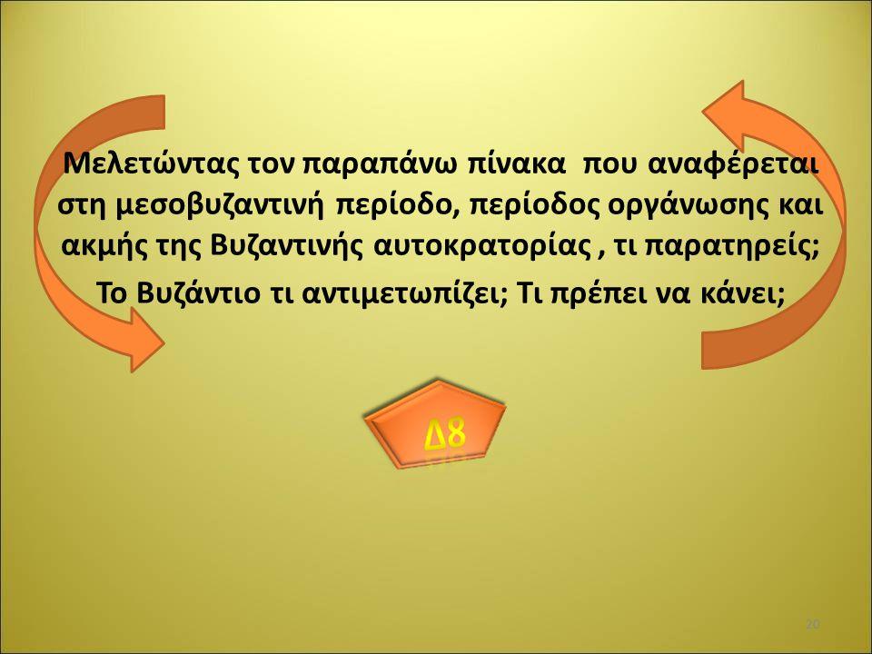 Μελετώντας τον παραπάνω πίνακα που αναφέρεται στη μεσοβυζαντινή περίοδο, περίοδος οργάνωσης και ακμής της Βυζαντινής αυτοκρατορίας, τι παρατηρείς; Το Βυζάντιο τι αντιμετωπίζει; Τι πρέπει να κάνει; 20