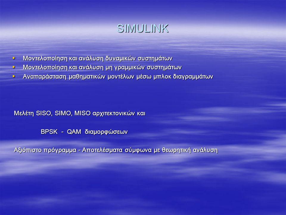 SIMULINK  Μοντελοποίηση και ανάλυση δυναμικών συστημάτων  Μοντελοποίηση και ανάλυση μη γραμμικών συστημάτων  Αναπαράσταση μαθηματικών μοντέλων μέσω μπλοκ διαγραμμάτων Μελέτη SISO, SIMO, MISO αρχιτεκτονικών και Μελέτη SISO, SIMO, MISO αρχιτεκτονικών και BPSK - QAM διαμορφώσεων BPSK - QAM διαμορφώσεων Αξιόπιστο πρόγραμμα - Αποτελέσματα σύμφωνα με θεωρητική ανάλυση Αξιόπιστο πρόγραμμα - Αποτελέσματα σύμφωνα με θεωρητική ανάλυση