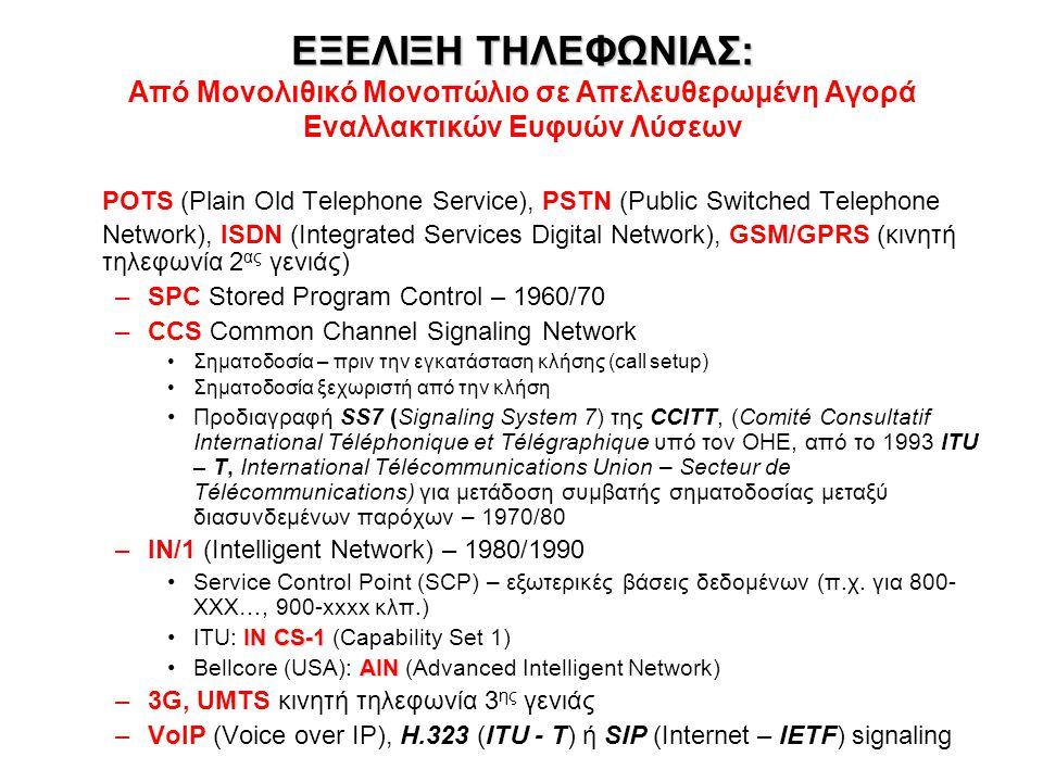 ΕΞΕΛΙΞΗ ΤΗΛΕΦΩΝΙΑΣ: ΕΞΕΛΙΞΗ ΤΗΛΕΦΩΝΙΑΣ: Από Μονολιθικό Μονοπώλιο σε Απελευθερωμένη Αγορά Εναλλακτικών Ευφυών Λύσεων POTS (Plain Old Telephone Service), PSTN (Public Switched Telephone Network), ISDN (Integrated Services Digital Network), GSM/GPRS (κινητή τηλεφωνία 2 ας γενιάς) –SPC Stored Program Control – 1960/70 –CCS Common Channel Signaling Network Σηματοδοσία – πριν την εγκατάσταση κλήσης (call setup) Σηματοδοσία ξεχωριστή από την κλήση Προδιαγραφή SS7 (Signaling System 7) της CCITT, (Comité Consultatif International Téléphonique et Télégraphique υπό τον ΟΗΕ, από το 1993 ITU – T, International Télécommunications Union – Secteur de Télécommunications) για μετάδοση συμβατής σηματοδοσίας μεταξύ διασυνδεμένων παρόχων – 1970/80 –IN/1 (Intelligent Network) – 1980/1990 Service Control Point (SCP) – εξωτερικές βάσεις δεδομένων (π.χ.