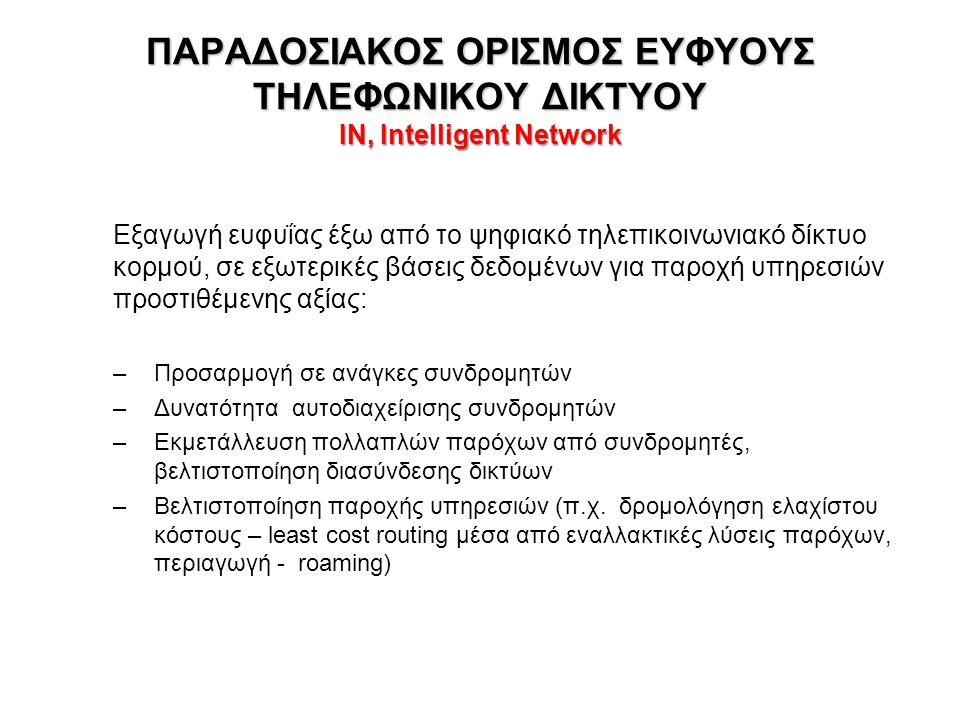 ΠΑΡΑΔΟΣΙΑΚΟΣ ΟΡΙΣΜΟΣ ΕΥΦΥΟΥΣ ΤΗΛΕΦΩΝΙΚΟΥ ΔΙΚΤΥΟΥ IN, Intelligent Network Εξαγωγή ευφυΐας έξω από το ψηφιακό τηλεπικοινωνιακό δίκτυο κορμού, σε εξωτερικές βάσεις δεδομένων για παροχή υπηρεσιών προστιθέμενης αξίας: –Προσαρμογή σε ανάγκες συνδρομητών –Δυνατότητα αυτοδιαχείρισης συνδρομητών –Εκμετάλλευση πολλαπλών παρόχων από συνδρομητές, βελτιστοποίηση διασύνδεσης δικτύων –Βελτιστοποίηση παροχής υπηρεσιών (π.χ.