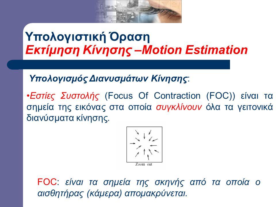 Υπολογιστική Όραση Εκτίμηση Κίνησης –Motion Estimation Υπολογισμός Διανυσμάτων Κίνησης: Εστίες Συστολής (Focus Of Contraction (FOC)) είναι τα σημεία της εικόνας στα οποία συγκλίνουν όλα τα γειτονικά διανύσματα κίνησης.