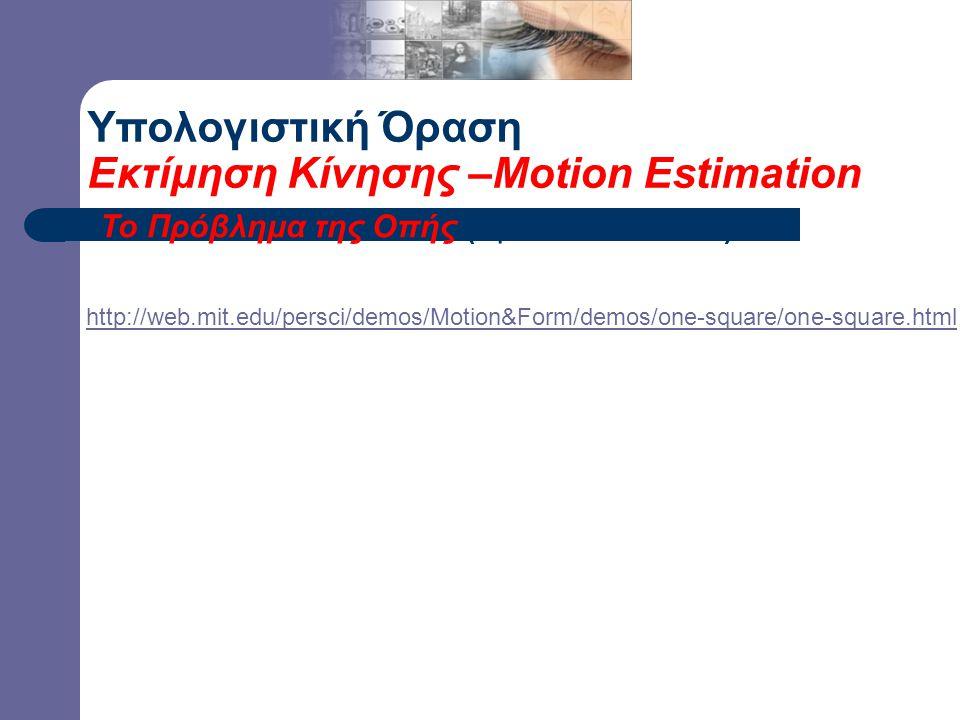 Το Πρόβλημα της Οπής (Aperture Problem) Υπολογιστική Όραση Εκτίμηση Κίνησης –Motion Estimation http://web.mit.edu/persci/demos/Motion&Form/demos/one-s