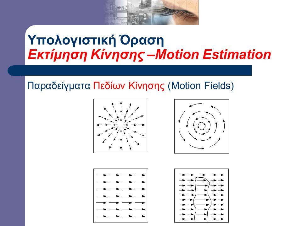 Υπολογιστική Όραση Εκτίμηση Κίνησης –Motion Estimation Παραδείγματα Πεδίων Κίνησης (Motion Fields)