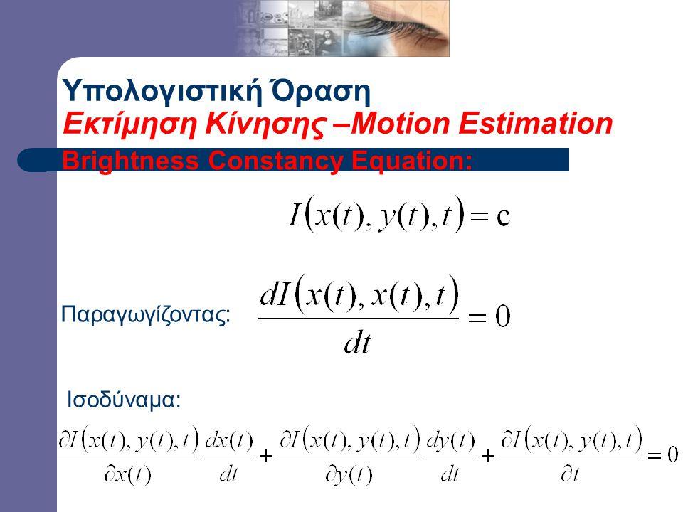 Υπολογιστική Όραση Εκτίμηση Κίνησης –Motion Estimation Brightness Constancy Equation: Παραγωγίζοντας: Ισοδύναμα: