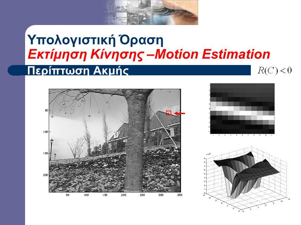 Υπολογιστική Όραση Εκτίμηση Κίνησης –Motion Estimation Περίπτωση Ακμής