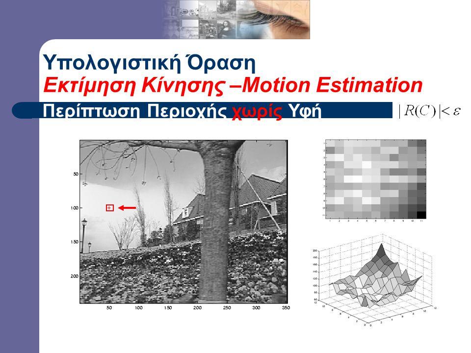– gradients have small magnitude – small  1, small 2 Υπολογιστική Όραση Εκτίμηση Κίνησης –Motion Estimation Περίπτωση Περιοχής χωρίς Υφή