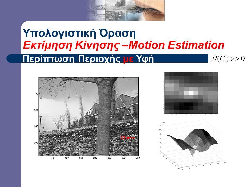 – gradients are different, large magnitudes – large  1, large 2 Υπολογιστική Όραση Εκτίμηση Κίνησης –Motion Estimation Περίπτωση Περιοχής με Υφή