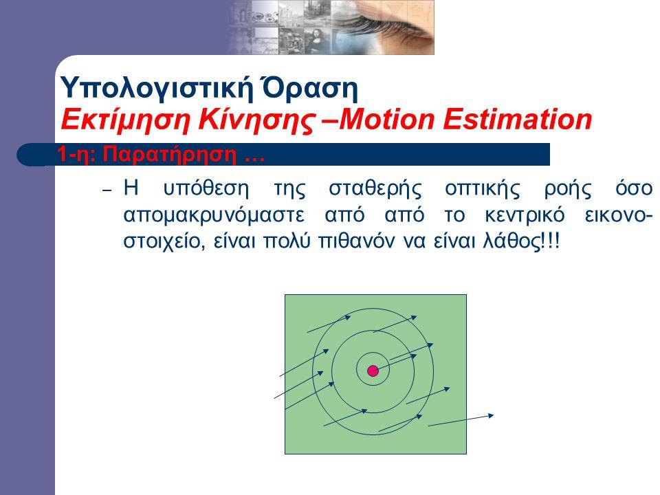 1-η: Παρατήρηση … – Η υπόθεση της σταθερής οπτικής ροής όσο απομακρυνόμαστε από από το κεντρικό εικονο- στοιχείο, είναι πολύ πιθανόν να είναι λάθος!!.