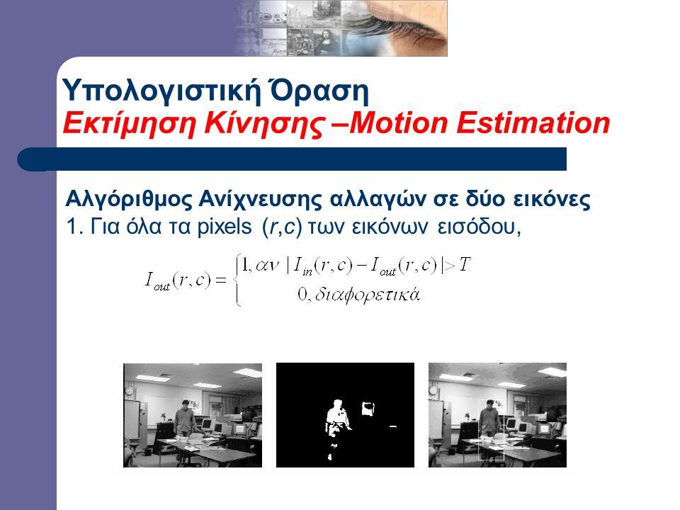 Υπολογιστική Όραση Εκτίμηση Κίνησης –Motion Estimation Αλγόριθμος Ανίχνευσης αλλαγών σε δύο εικόνες 1. Για όλα τα pixels (r,c) των εικόνων εισόδου,