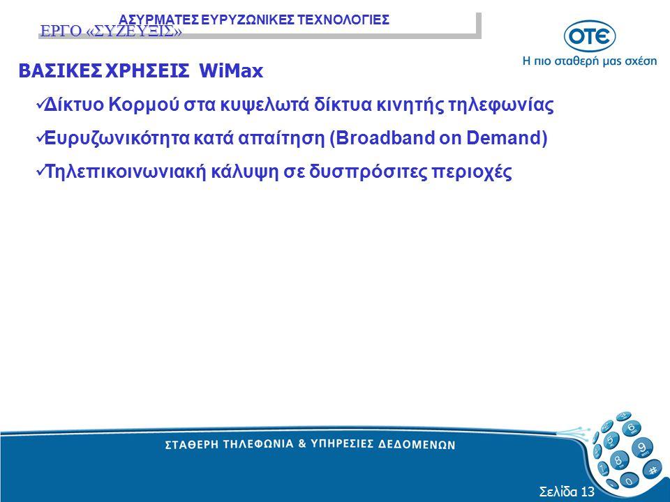 ΑΣΥΡΜΑΤΕΣ ΕΥΡΥΖΩΝΙΚΕΣ ΤΕΧΝΟΛΟΓΙΕΣ Σελίδα 13 ΒΑΣΙΚΕΣ ΧΡΗΣΕΙΣ WiMax Δίκτυο Κορμού στα κυψελωτά δίκτυα κινητής τηλεφωνίας Ευρυζωνικότητα κατά απαίτηση (B