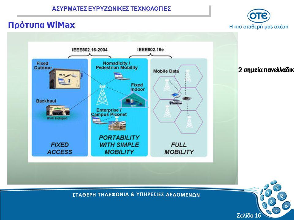 ΑΣΥΡΜΑΤΕΣ ΕΥΡΥΖΩΝΙΚΕΣ ΤΕΧΝΟΛΟΓΙΕΣ Σελίδα 16 Πρότυπα WiMax 82 σημεία πανελλαδικά