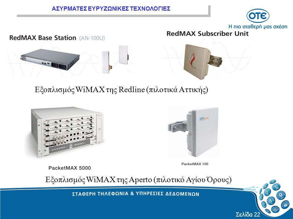 ΑΣΥΡΜΑΤΕΣ ΕΥΡΥΖΩΝΙΚΕΣ ΤΕΧΝΟΛΟΓΙΕΣ Σελίδα 22 Εξοπλισμός WiMAX της Redline (πιλοτικά Αττικής) Εξοπλισμός WiMAX της Aperto (πιλοτικό Αγίου Όρους)