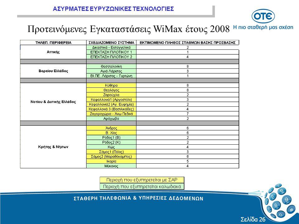 ΑΣΥΡΜΑΤΕΣ ΕΥΡΥΖΩΝΙΚΕΣ ΤΕΧΝΟΛΟΓΙΕΣ Σελίδα 26 Προτεινόμενες Εγκαταστάσεις WiMax έτους 2008