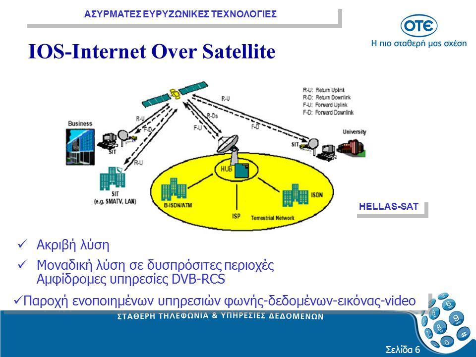 ΑΣΥΡΜΑΤΕΣ ΕΥΡΥΖΩΝΙΚΕΣ ΤΕΧΝΟΛΟΓΙΕΣ Σελίδα 6 IOS-Internet Over Satellite Ακριβή λύση Μοναδική λύση σε δυσπρόσιτες περιοχές Αμφίδρομες υπηρεσίες DVB-RCS