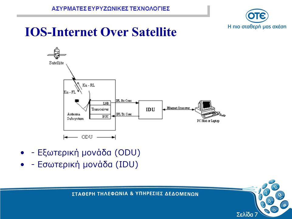 ΑΣΥΡΜΑΤΕΣ ΕΥΡΥΖΩΝΙΚΕΣ ΤΕΧΝΟΛΟΓΙΕΣ Σελίδα 7 IOS-Internet Over Satellite - Εξωτερική μονάδα (ODU) - Εσωτερική μονάδα (IDU)