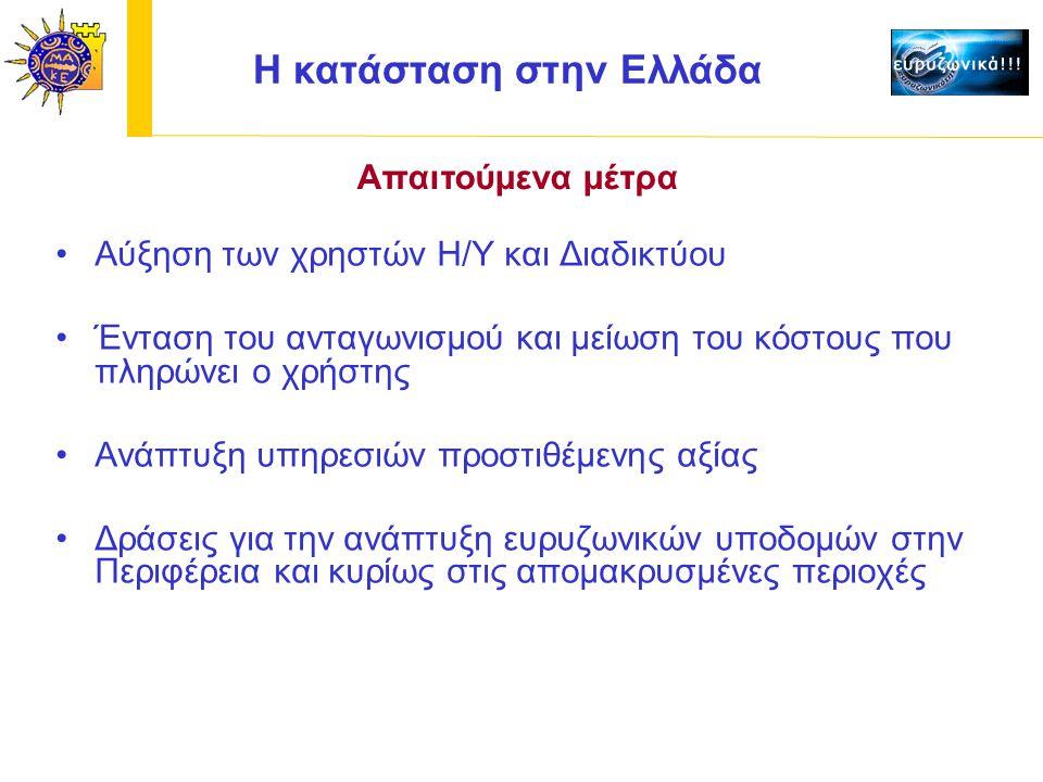 Αύξηση των χρηστών Η/Υ και Διαδικτύου Ένταση του ανταγωνισμού και μείωση του κόστους που πληρώνει ο χρήστης Ανάπτυξη υπηρεσιών προστιθέμενης αξίας Δράσεις για την ανάπτυξη ευρυζωνικών υποδομών στην Περιφέρεια και κυρίως στις απομακρυσμένες περιοχές H κατάσταση στην Ελλάδα Απαιτούμενα μέτρα