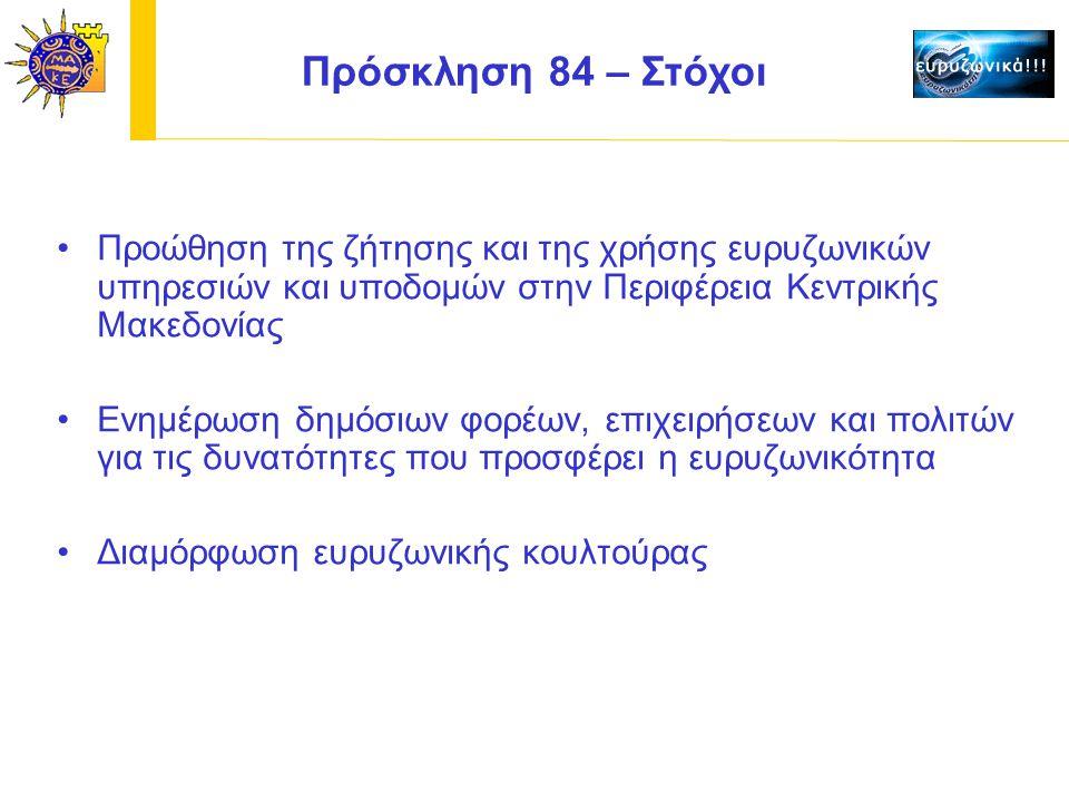 Προώθηση της ζήτησης και της χρήσης ευρυζωνικών υπηρεσιών και υποδομών στην Περιφέρεια Κεντρικής Μακεδονίας Ενημέρωση δημόσιων φορέων, επιχειρήσεων και πολιτών για τις δυνατότητες που προσφέρει η ευρυζωνικότητα Διαμόρφωση ευρυζωνικής κουλτούρας Πρόσκληση 84 – Στόχοι