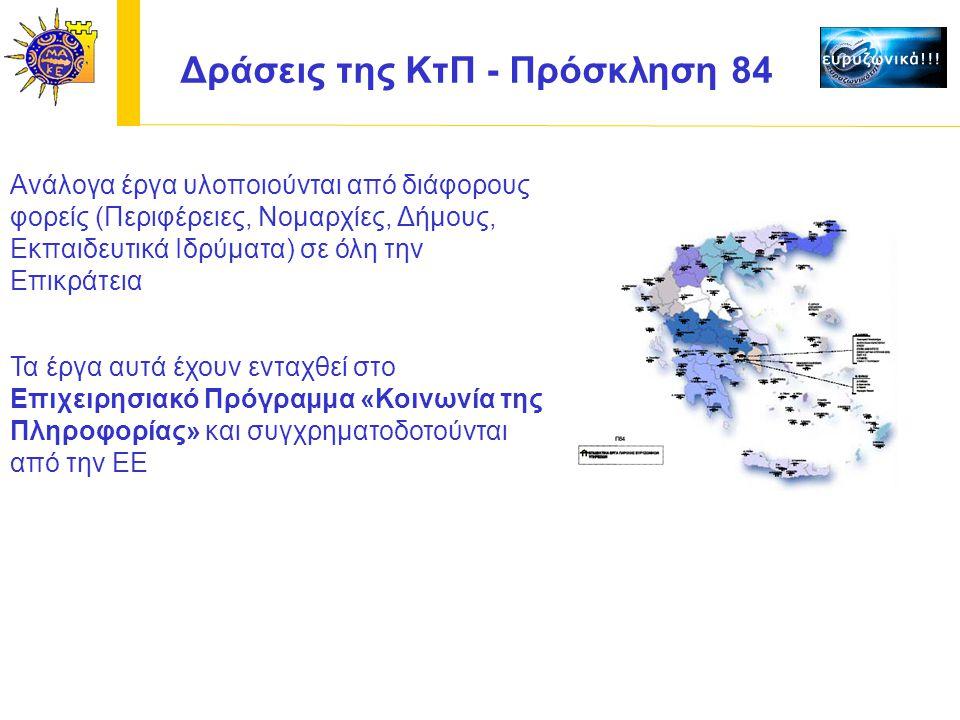 Ανάλογα έργα υλοποιούνται από διάφορους φορείς (Περιφέρειες, Νομαρχίες, Δήμους, Εκπαιδευτικά Ιδρύματα) σε όλη την Επικράτεια Δράσεις της ΚτΠ - Πρόσκληση 84 Τα έργα αυτά έχουν ενταχθεί στο Επιχειρησιακό Πρόγραμμα «Κοινωνία της Πληροφορίας» και συγχρηματοδοτούνται από την ΕΕ