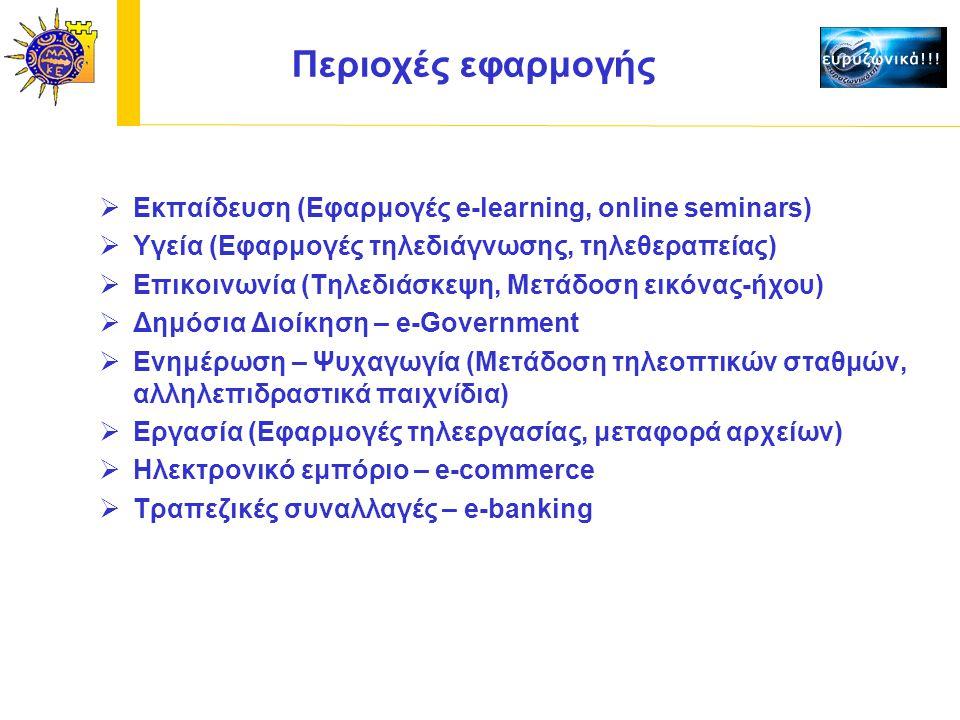 Περιοχές εφαρμογής  Εκπαίδευση (Εφαρμογές e-learning, online seminars)  Υγεία (Εφαρμογές τηλεδιάγνωσης, τηλεθεραπείας)  Επικοινωνία (Τηλεδιάσκεψη, Μετάδοση εικόνας-ήχου)  Δημόσια Διοίκηση – e-Government  Ενημέρωση – Ψυχαγωγία (Μετάδοση τηλεοπτικών σταθμών, αλληλεπιδραστικά παιχνίδια)  Εργασία (Εφαρμογές τηλεεργασίας, μεταφορά αρχείων)  Ηλεκτρονικό εμπόριο – e-commerce  Τραπεζικές συναλλαγές – e-banking