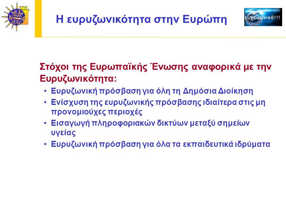H ευρυζωνικότητα στην Ευρώπη Στόχοι της Ευρωπαϊκής Ένωσης αναφορικά με την Ευρυζωνικότητα: Ευρυζωνική πρόσβαση για όλη τη Δημόσια Διοίκηση Ενίσχυση της ευρυζωνικής πρόσβασης ιδιαίτερα στις μη προνομιούχες περιοχές Εισαγωγή πληροφοριακών δικτύων μεταξύ σημείων υγείας Ευρυζωνική πρόσβαση για όλα τα εκπαιδευτικά ιδρύματα