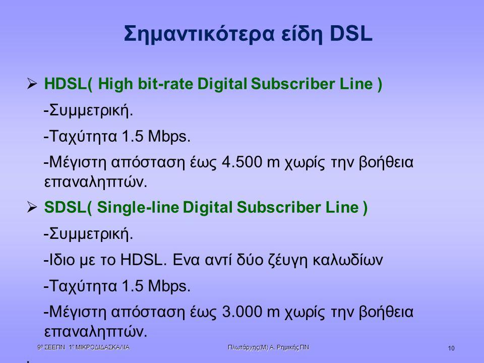 Πλωτάρχης(Μ) Α. Ρημικής ΠΝ 9 ο ΣΕΕΠΝ 1 η ΜΙΚΡΟΔΙΔΑΣΚΑΛΙΑ 10 Σημαντικότερα είδη DSL  ΗDSL( High bit-rate Digital Subscriber Line ) -Συμμετρική. -Ταχύτ