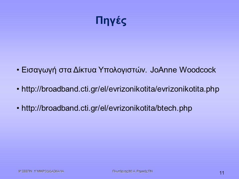 Πλωτάρχης(Μ) Α. Ρημικής ΠΝ 9 ο ΣΕΕΠΝ 1 η ΜΙΚΡΟΔΙΔΑΣΚΑΛΙΑ 11 Εισαγωγή στα Δίκτυα Υπολογιστών. JoAnne Woodcock http://broadband.cti.gr/el/evrizonikotita