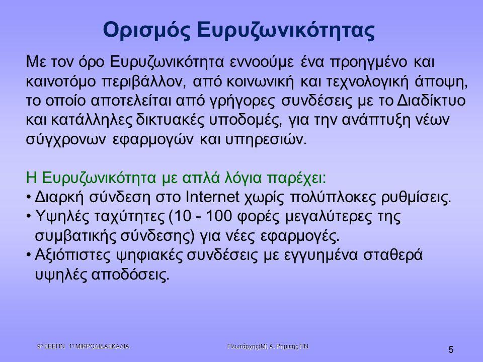 Πλωτάρχης(Μ) Α. Ρημικής ΠΝ 9 ο ΣΕΕΠΝ 1 η ΜΙΚΡΟΔΙΔΑΣΚΑΛΙΑ 5 Ορισμός Ευρυζωνικότητας Με τον όρο Ευρυζωνικότητα εννοούμε ένα προηγμένο και καινοτόμο περι