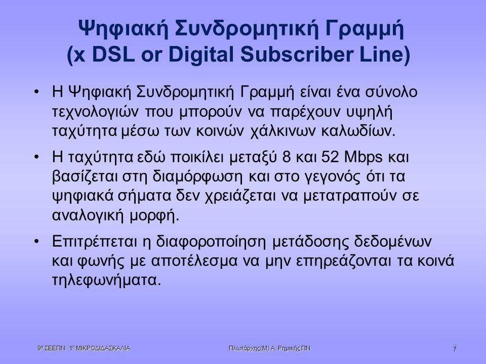 Πλωτάρχης(Μ) Α. Ρημικής ΠΝ 9 ο ΣΕΕΠΝ 1 η ΜΙΚΡΟΔΙΔΑΣΚΑΛΙΑ 7 7 Ψηφιακή Συνδρομητική Γραμμή (x DSL or Digital Subscriber Line)  Η Ψηφιακή Συνδρομητική Γ