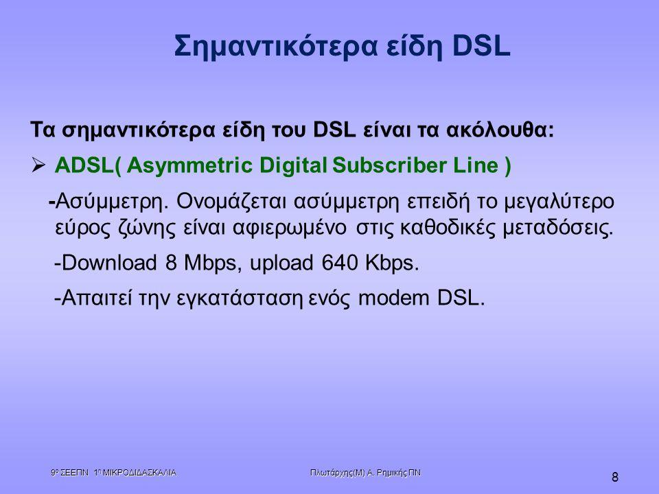 Πλωτάρχης(Μ) Α. Ρημικής ΠΝ 9 ο ΣΕΕΠΝ 1 η ΜΙΚΡΟΔΙΔΑΣΚΑΛΙΑ 8 Τα σημαντικότερα είδη του DSL είναι τα ακόλουθα:   ADSL( Asymmetric Digital Subscriber Li