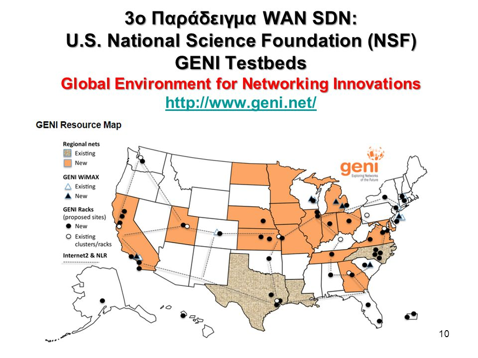 3o Παράδειγμα WAN SDN: U.S. National Science Foundation (NSF) GENI Testbeds Global Environment for Networking Innovations 3o Παράδειγμα WAN SDN: U.S.