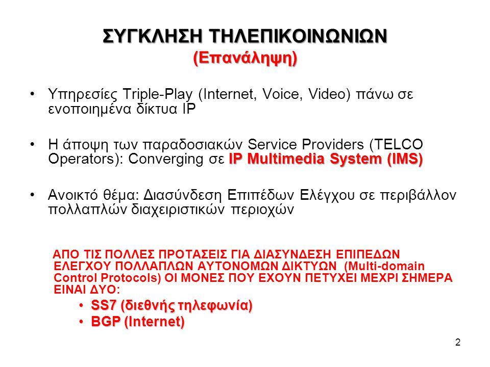 ΣΥΓΚΛΗΣΗ ΤΗΛΕΠΙΚΟΙΝΩΝΙΩΝ (Επανάληψη) Υπηρεσίες Triple-Play (Internet, Voice, Video) πάνω σε ενοποιημένα δίκτυα IP IP Multimedia System (IMS)Η άποψη τω