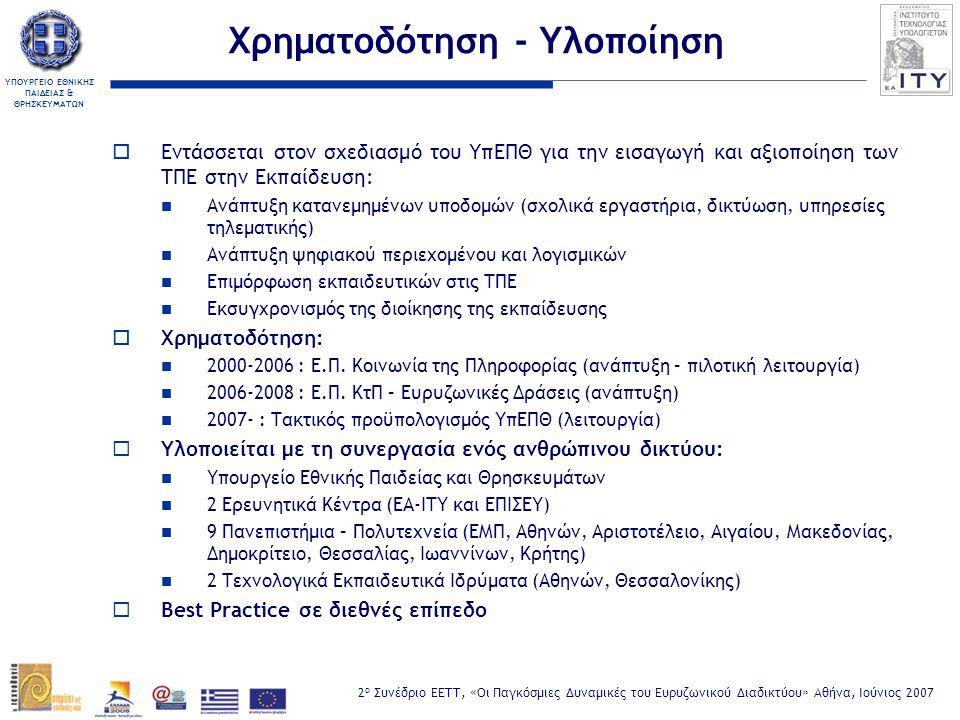 ΥΠΟΥΡΓΕΙΟ ΕΘΝΙΚΗΣ ΠΑΙΔΕΙΑΣ & ΘΡΗΣΚΕΥΜΑΤΩΝ 2 ο Συνέδριο ΕΕΤΤ, «Οι Παγκόσμιες Δυναμικές του Ευρυζωνικού Διαδικτύου» Αθήνα, Ιούνιος 2007 Ευρυζωνικότητα στο ΠΣΔ  Στρατηγικός στόχος για τη βιωσιμότητα και βελτίωση ποιότητας: Μείωση λειτουργικών δαπανών (τηλεπικοινωνιακά τέλη: κύριο λειτουργικό κόστος ~7 Μ€/έτος για ~13.500 συνδεόμενα σημεία) Εκσυγχρονισμός τεχνολογικής υποδομής (πρόσβασης και κορμού)  Άξονες Σχεδιασμού: Αναβάθμιση δικτύου πρόσβασης (Access network)  Ωρίμανση τηλεπικοινωνιακής αγοράς, π.χ.