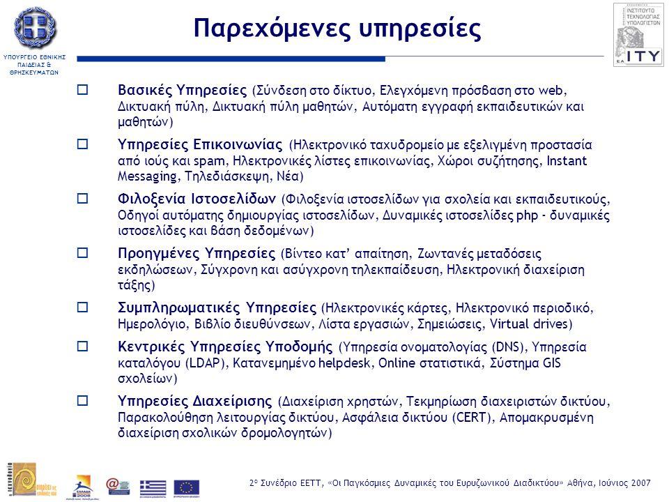 ΥΠΟΥΡΓΕΙΟ ΕΘΝΙΚΗΣ ΠΑΙΔΕΙΑΣ & ΘΡΗΣΚΕΥΜΑΤΩΝ 2 ο Συνέδριο ΕΕΤΤ, «Οι Παγκόσμιες Δυναμικές του Ευρυζωνικού Διαδικτύου» Αθήνα, Ιούνιος 2007 Ευρυζωνικότητα στην εκπαίδευση: Χρειάζεται;  Εύκολη και γρήγορη πρόσβαση σε πληροφορία και (διαδραστικό, πολυμεσικό) περιεχόμενο στην τάξη  Εμπλουτισμός μαθησιακής εμπειρίας, τηλεσυνεργασία μεταξύ σχολείων  Βελτιώνεται σημαντικά η πρόσβαση των απομακρυσμένων και δυσπρόσιτων σχολείων  Βιντεο-διάσκεψη/ροή, πολυμεσικές εφαρμογές  (Ασύγχρονη και σύγχρονη) τηλεκπαίδευση - τηλεπιμόρφωση  Ηλεκτρονική διοίκηση της εκπαίδευσης / υπηρεσίες πληροφόρησης  «Πληροφορικά εγγράμματοι» μαθητές (...μαθαίνω πώς να μαθαίνω...)  Μείωση λειτουργικού κόστους