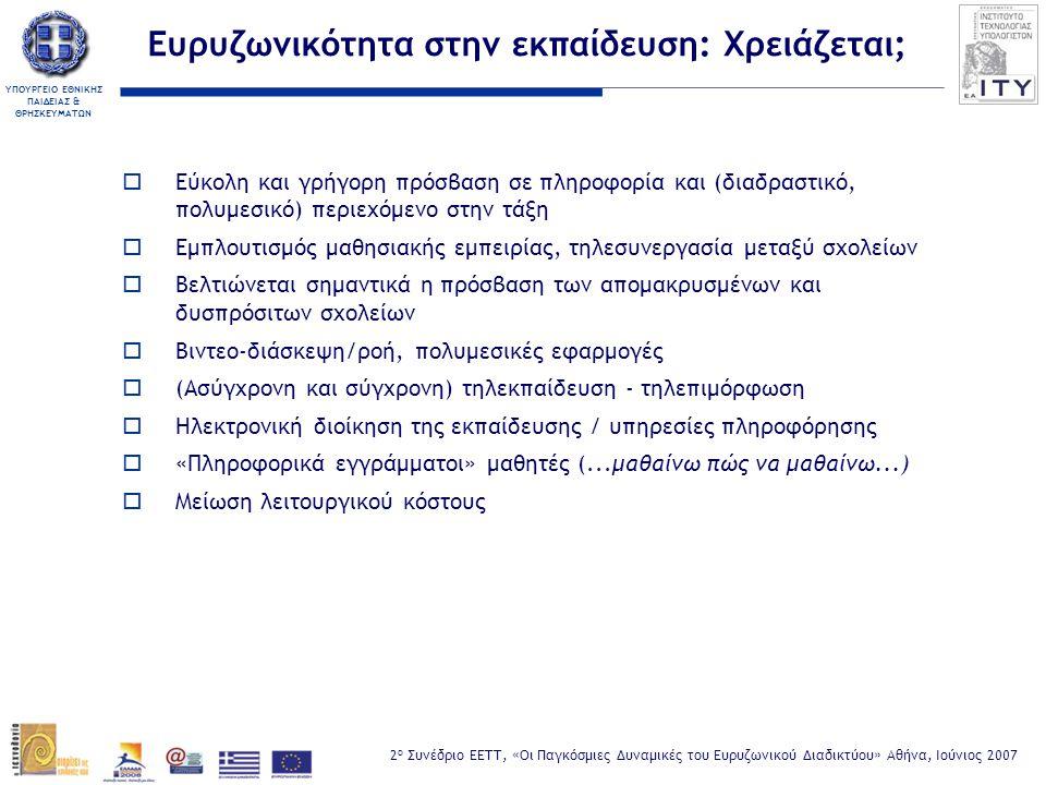 ΥΠΟΥΡΓΕΙΟ ΕΘΝΙΚΗΣ ΠΑΙΔΕΙΑΣ & ΘΡΗΣΚΕΥΜΑΤΩΝ 2 ο Συνέδριο ΕΕΤΤ, «Οι Παγκόσμιες Δυναμικές του Ευρυζωνικού Διαδικτύου» Αθήνα, Ιούνιος 2007 Ευρυζωνικές υλοποιήσεις ΠΣΔ  Υλοποίηση υπηρεσίας SCH-ADSL για την ευρυζωνική πρόσβαση σχολείων:  Δυνατότητα τερματισμού 20.000 ADSL συνδέσεων  Δύο σημεία διασύνδεσης με ADSL/ΟΤΕ (Αθήνα, Θεσσαλονίκη)  Διασύνδεση ΠΣΔ με ΕΔΕΤ-2 σε υπερυψηλές ταχύτητες:  Αθήνα, Θεσ/νίκη, Πάτρα, Ηράκλειο, Λάρισα, Χανιά (1 Gbps)  Ιωάννινα, Σύρος, Ξάνθη, Ρέθυμνο, Σέρρες* (100 Mbps)  Δορυφορική διασύνδεση κινητών βιβλιοθηκών ΥπΕΠΘ  Ασύρματα δίκτυα σχολείων  Μισθωμένες συνδέσεις σχολείων και διοικητικών μονάδων (SDSL, VDSL) * : προσεχώς