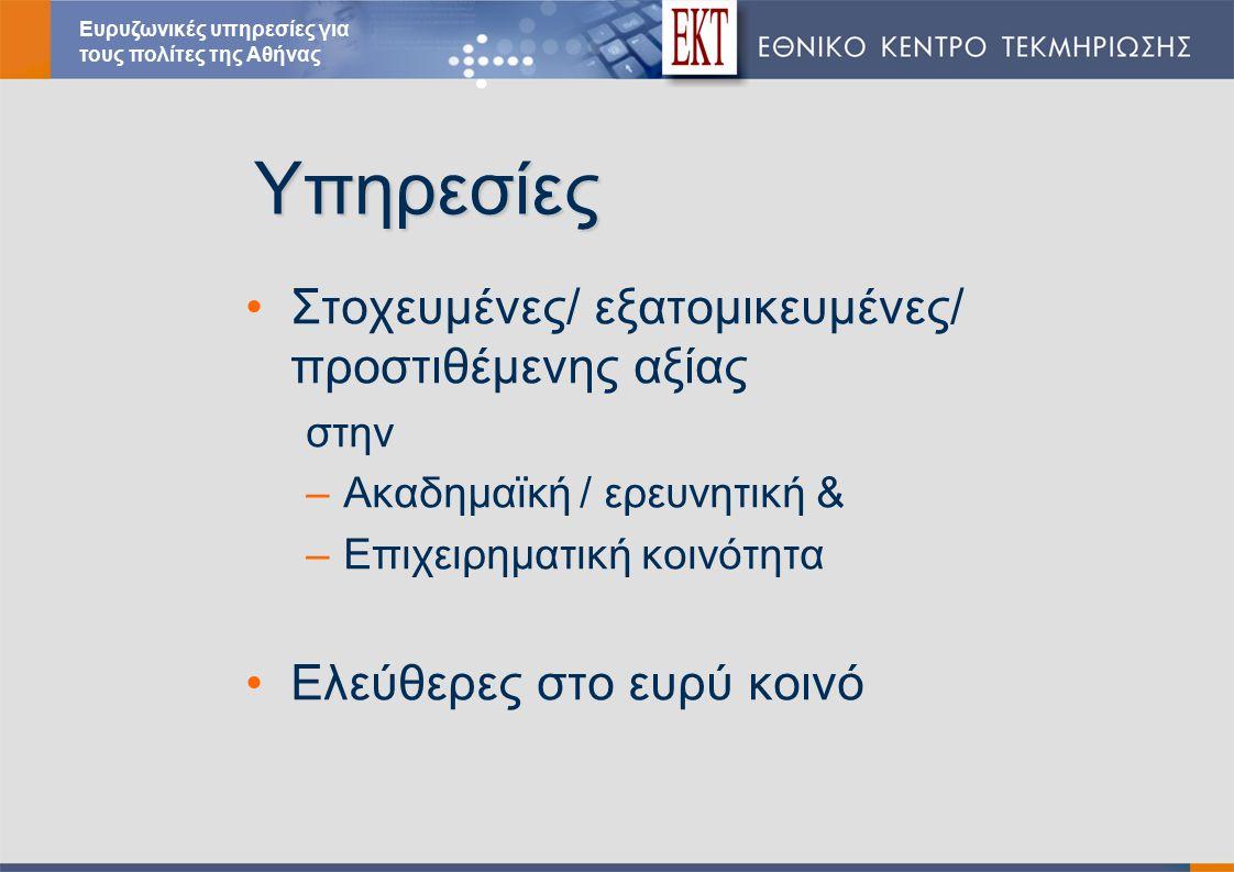 Υπηρεσίες Στοχευμένες/ εξατομικευμένες/ προστιθέμενης αξίας στην –Ακαδημαϊκή / ερευνητική & –Επιχειρηματική κοινότητα Ελεύθερες στο ευρύ κοινό Ευρυζωνικές υπηρεσίες για τους πολίτες της Αθήνας