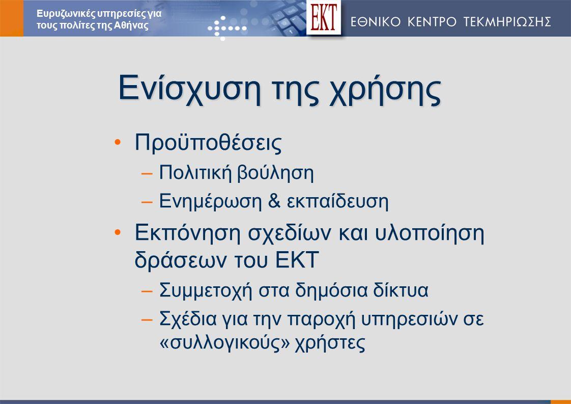 Ενίσχυση της χρήσης Προϋποθέσεις –Πολιτική βούληση –Ενημέρωση & εκπαίδευση Εκπόνηση σχεδίων και υλοποίηση δράσεων του ΕΚΤ –Συμμετοχή στα δημόσια δίκτυα –Σχέδια για την παροχή υπηρεσιών σε «συλλογικούς» χρήστες Ευρυζωνικές υπηρεσίες για τους πολίτες της Αθήνας