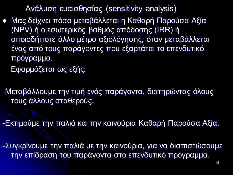 Ανάλυση ευαισθησίας (sensitivity analysis) Ανάλυση ευαισθησίας (sensitivity analysis) Μας δείχνει πόσο μεταβάλλεται η Καθαρή Παρούσα Αξία (NPV) ή ο εσ