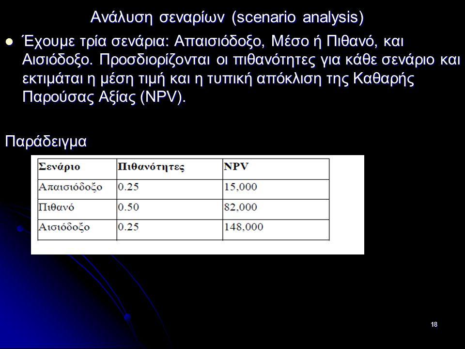 Ανάλυση σεναρίων (scenario analysis) Ανάλυση σεναρίων (scenario analysis) Έχουμε τρία σενάρια: Απαισιόδοξο, Μέσο ή Πιθανό, και Αισιόδοξο. Προσδιορίζον