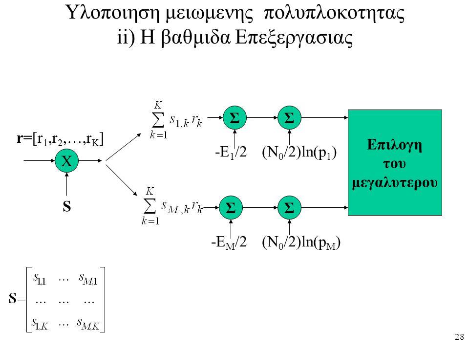 28 Υλοποιηση μειωμενης πολυπλοκοτητας ii) Η βαθμιδα Επεξεργασιας Χ r=[r 1,r 2,…,r K ] S Σ Σ Σ Σ Επιλογη του μεγαλυτερου -Ε 1 /2 -Ε Μ /2 (Ν 0 /2)ln(p 1