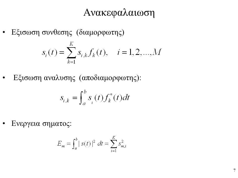 38 Αναλυση λειτουργιας του δεκτη συσχετισης (Μονοδιαστατος χωρος σηματων) r(t) f(t)=(1/  T) για 0≤t≤T = 0 αλλου  trigger at t=kT Εκπεμπομενο σημα (Ν  Τ)