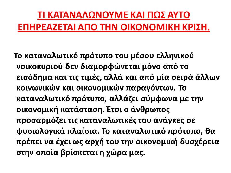 ΤΙ ΚΑΤΑΝΑΛΩΝΟΥΜΕ ΚΑΙ ΠΩΣ ΑΥΤΟ ΕΠΗΡΕΑΖΕΤΑΙ ΑΠΟ ΤΗΝ ΟΙΚΟΝΟΜΙΚΗ ΚΡΙΣΗ. Το καταναλωτικό πρότυπο του μέσου ελληνικού νοικοκυριού δεν διαμορφώνεται μόνο από