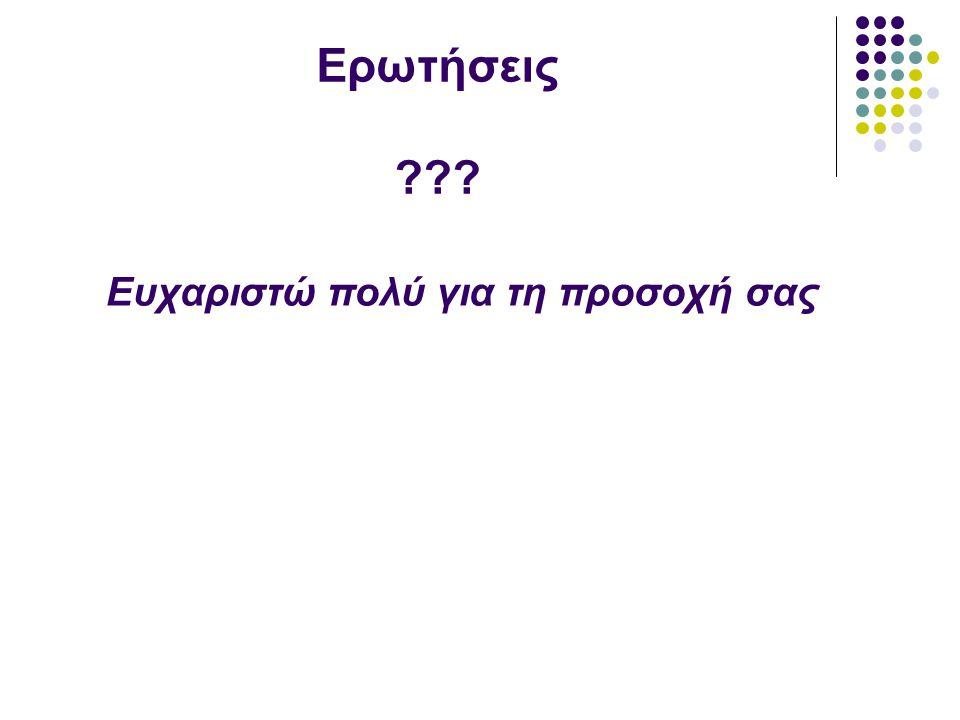 Ερωτήσεις ??? Ευχαριστώ πολύ για τη προσοχή σας