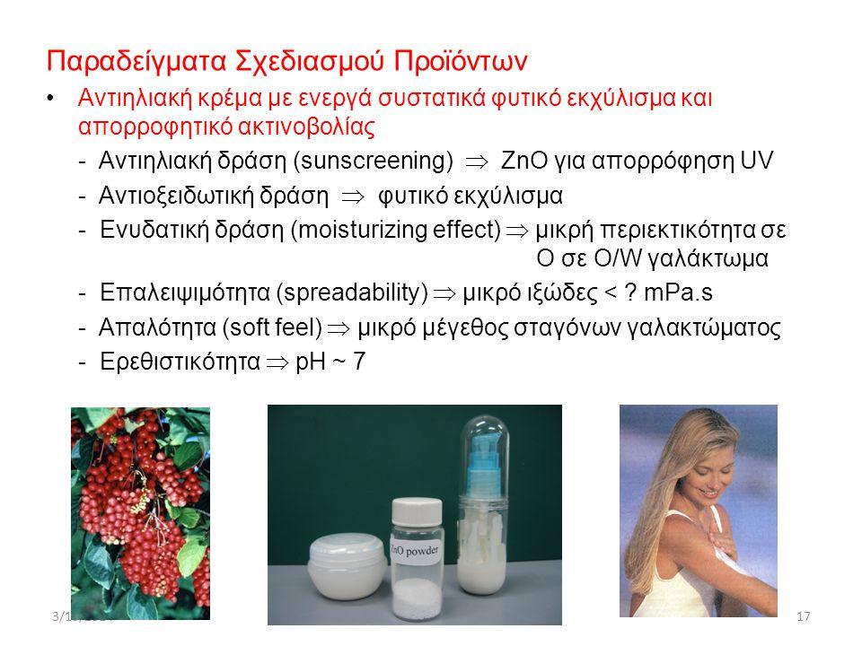 Παραδείγματα Σχεδιασμού Προϊόντων Αντιηλιακή κρέμα με ενεργά συστατικά φυτικό εκχύλισμα και απορροφητικό ακτινοβολίας - Αντιηλιακή δράση (sunscreening)  ΖnO για απορρόφηση UV - Αντιοξειδωτική δράση  φυτικό εκχύλισμα - Ενυδατική δράση (moisturizing effect)  μικρή περιεκτικότητα σε Ο σε Ο/W γαλάκτωμα - Επαλειψιμότητα (spreadability)  μικρό ιξώδες < .
